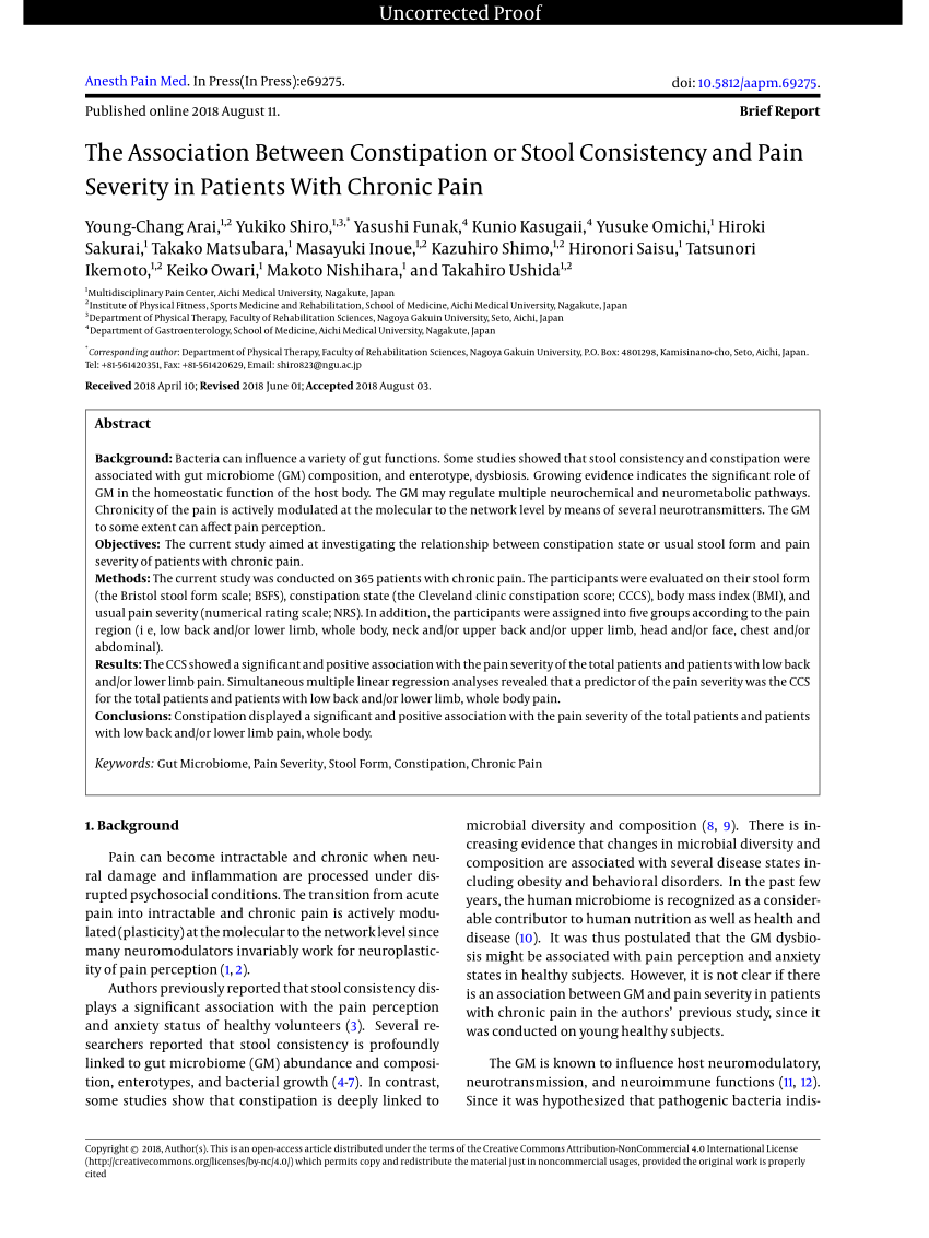 (PDF) The Association Between Constipation or Stool ...