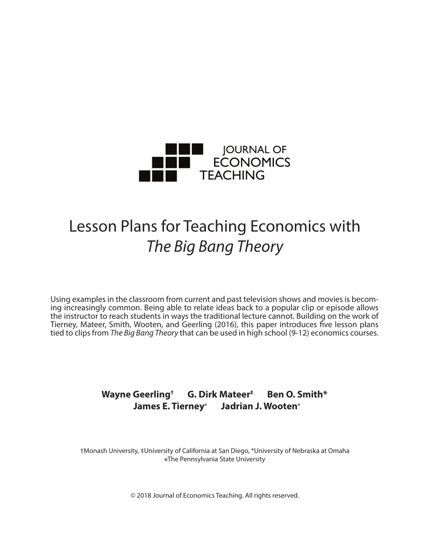 medium resolution of PDF) Lesson Plans for Teaching Economics with The Big Bang Theory