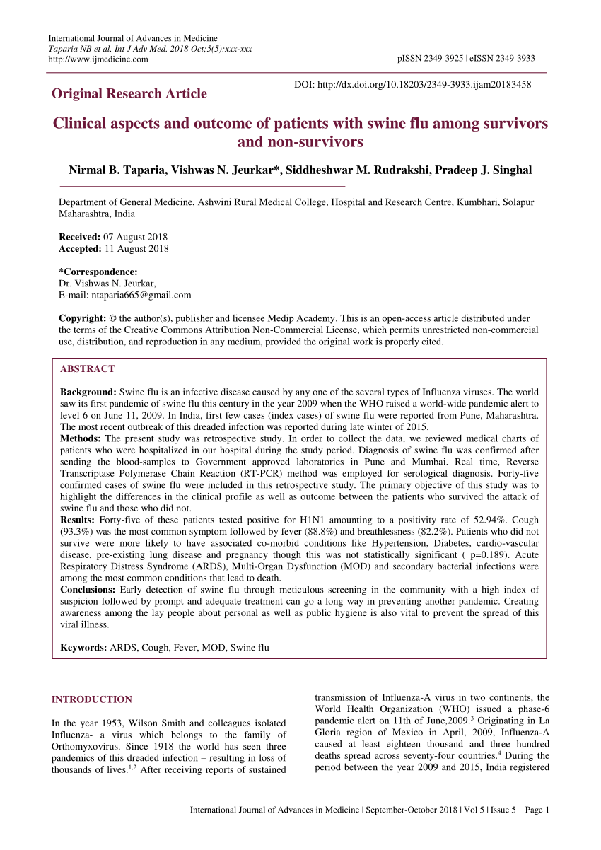PDF) Clinical aspects and outcome of patients with swine flu among ...