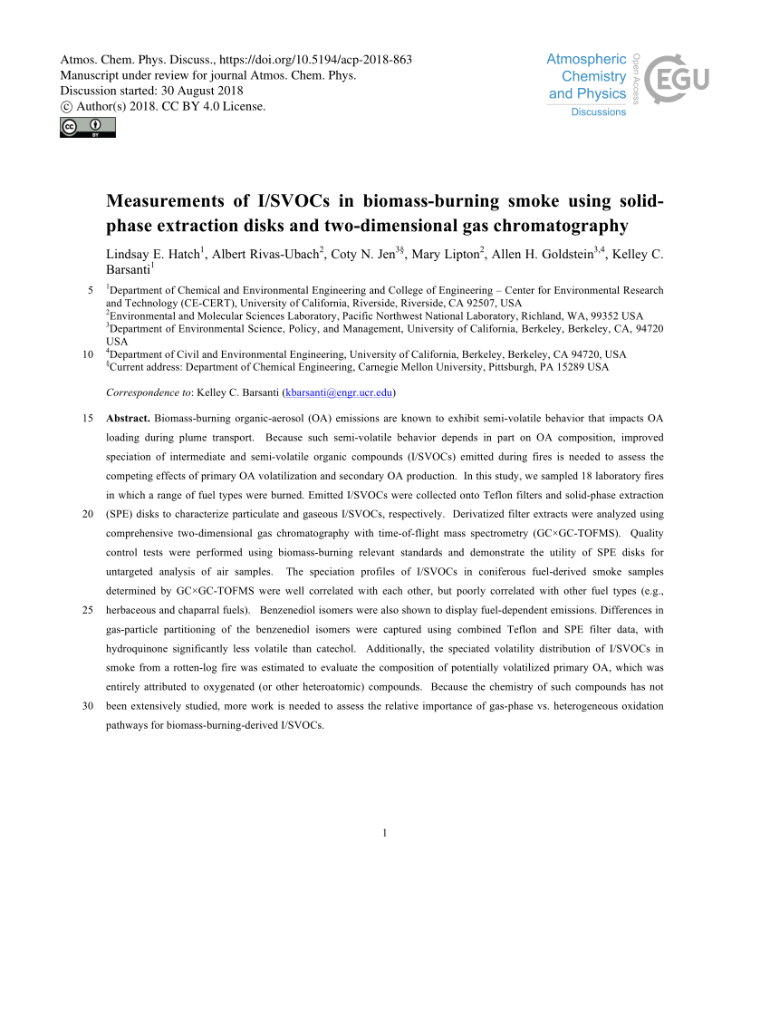 hight resolution of  pdf speciated and total emission factors of particulate organics from burning western u s wildland fuels and their dependence on combustion efficiency
