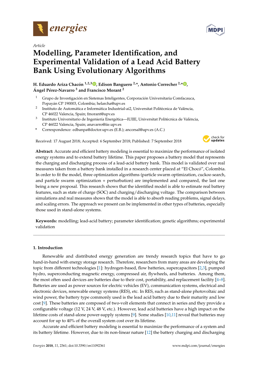 medium resolution of  pdf modelling parameter identification and experimental validation of a lead acid battery bank using evolutionary algorithms