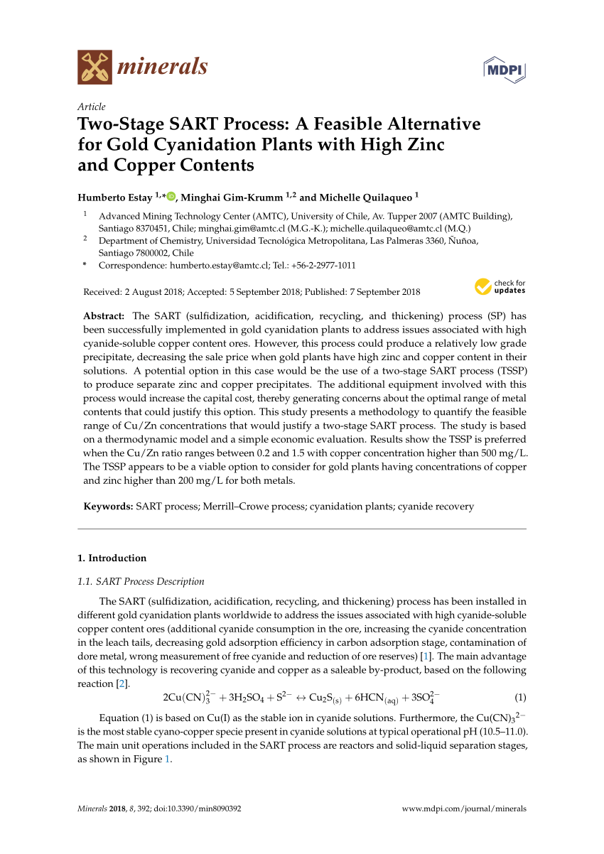 medium resolution of  pdf two stage sart process a feasible alternative for gold cyanidation plants with high zinc and copper contents