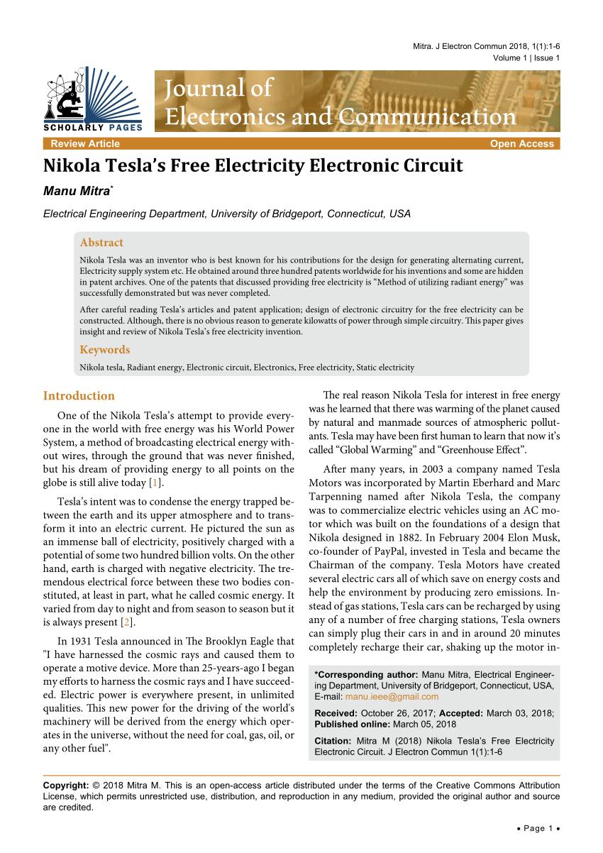 medium resolution of  pdf nikola tesla s free electricity electronic circuit