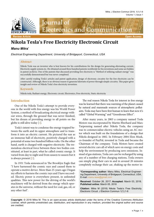 small resolution of  pdf nikola tesla s free electricity electronic circuit