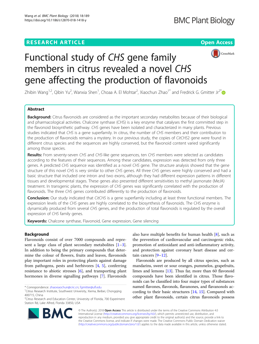 medium resolution of  pdf functional study of chs gene family members in citrus revealed a novel chs gene affecting the production of flavonoids