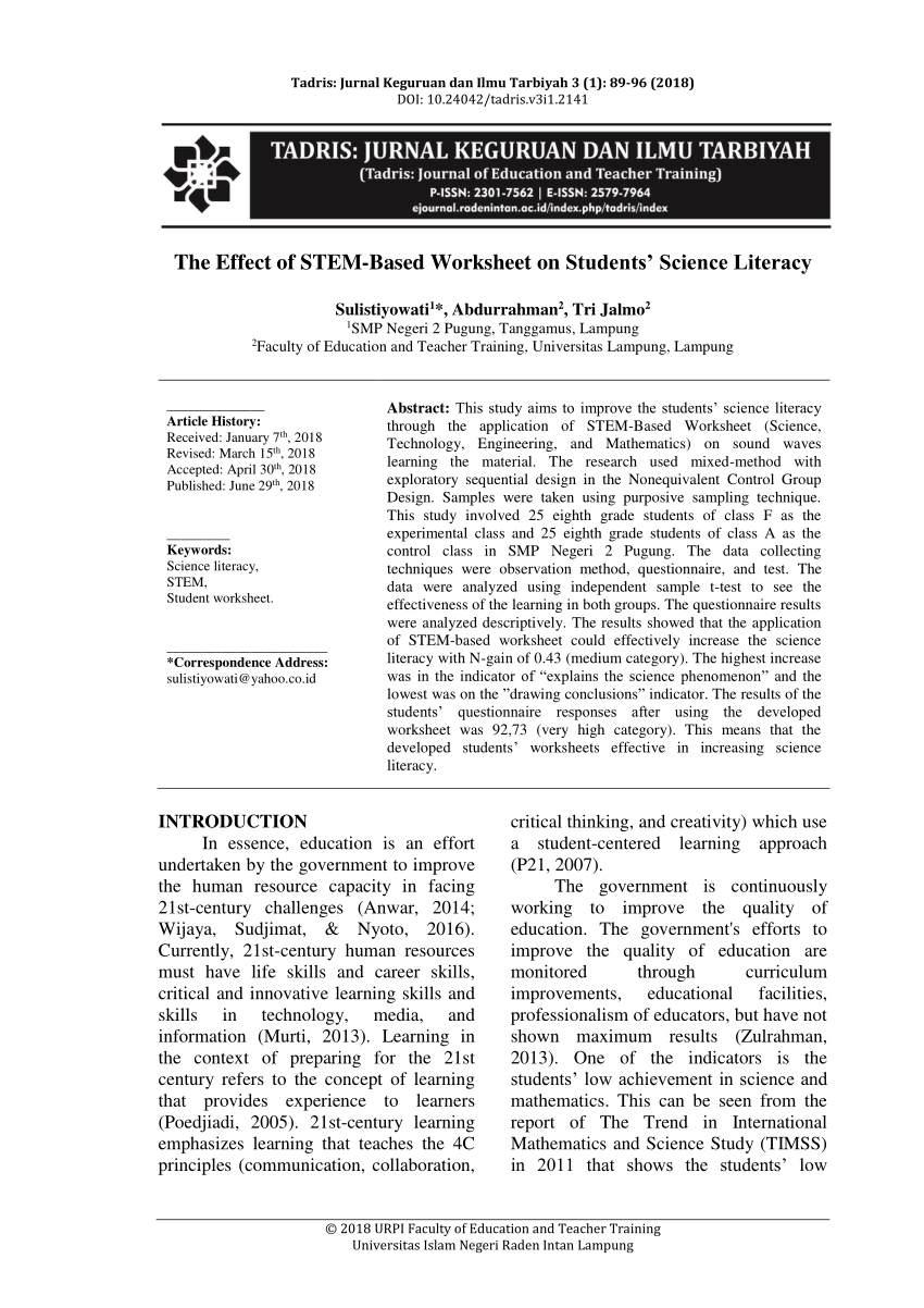 hight resolution of PDF) The Effect of STEM-Based Worksheet on Students' Science Literacy