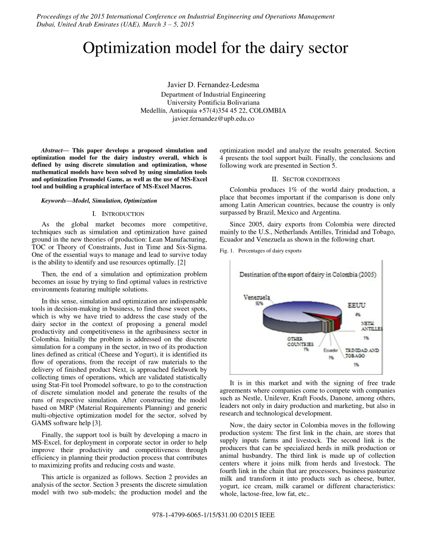 (PDF) Optimization model for the dairy sector