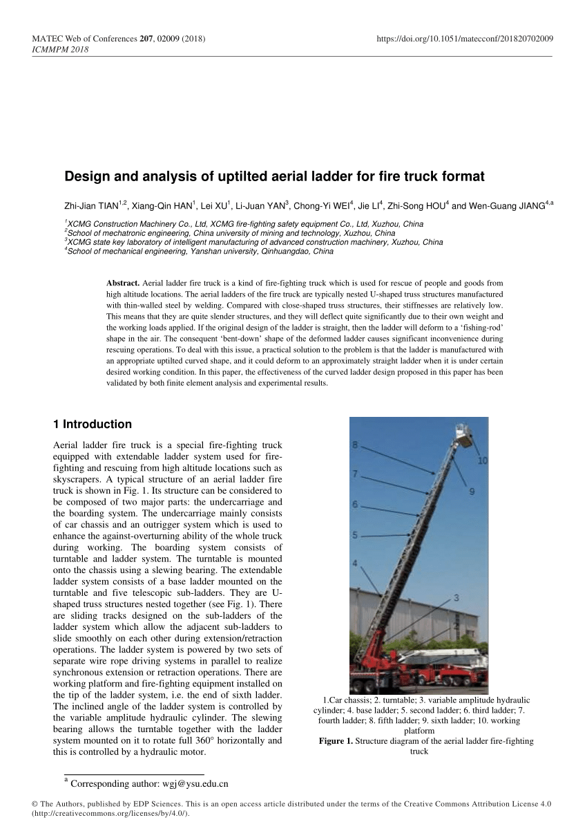 medium resolution of  pdf design and analysis of uptilted aerial ladder for fire truck format