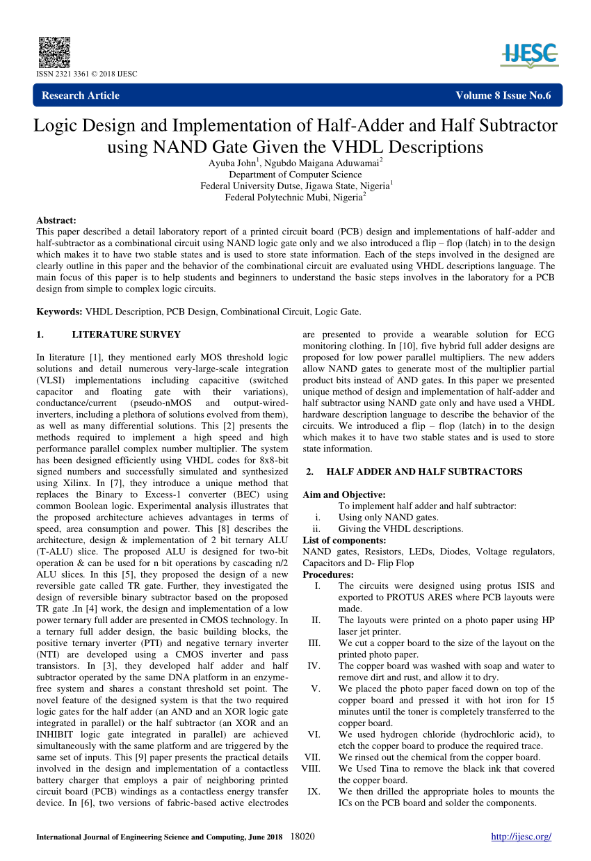 medium resolution of  pdf logic design and implementation of half adder and half subtractor using nand gate given the vhdl descriptions