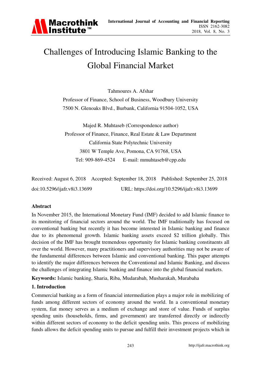 (PDF) Challenges of Introducing Islamic Banking to the Global Financial Market