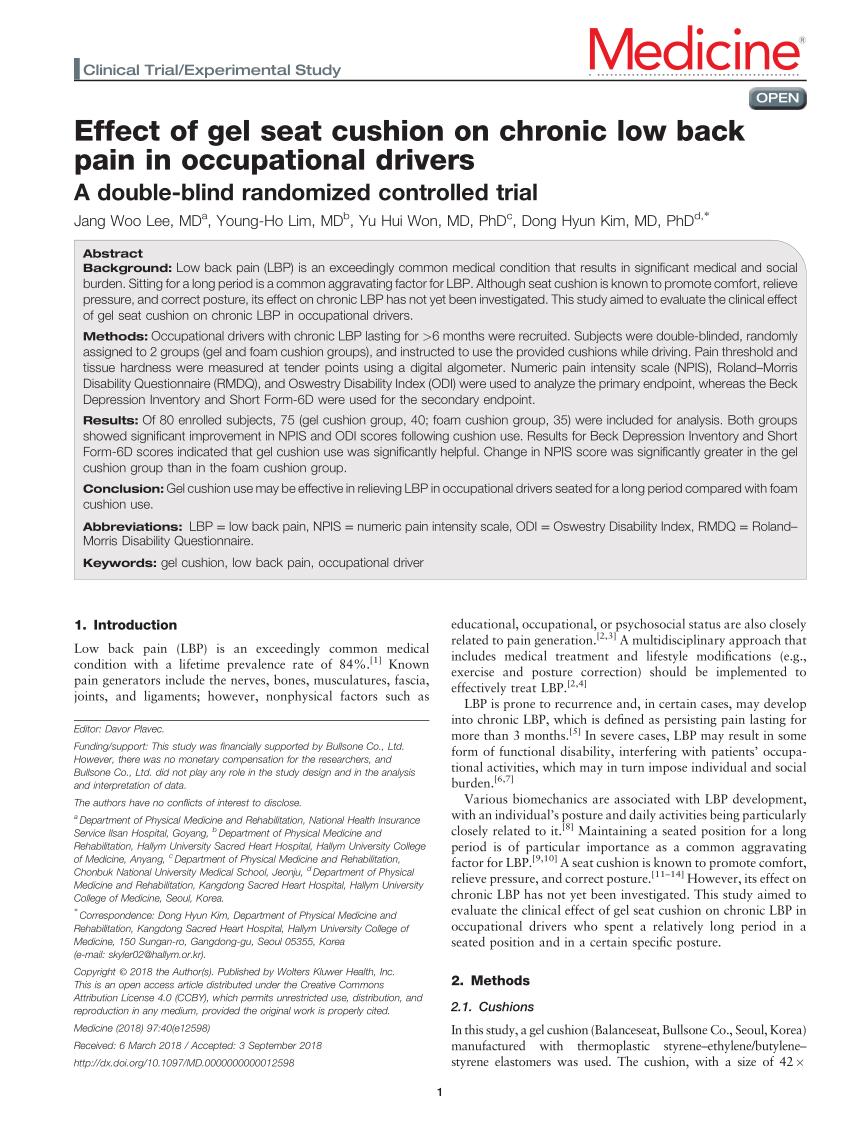 pdf effect of gel seat cushion on