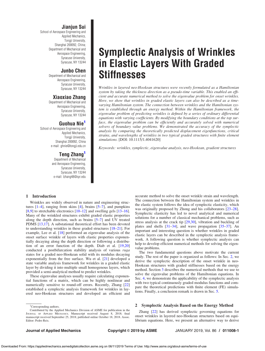 (PDF) Symplectic Analysis of Wrinkles in Elastic Layers