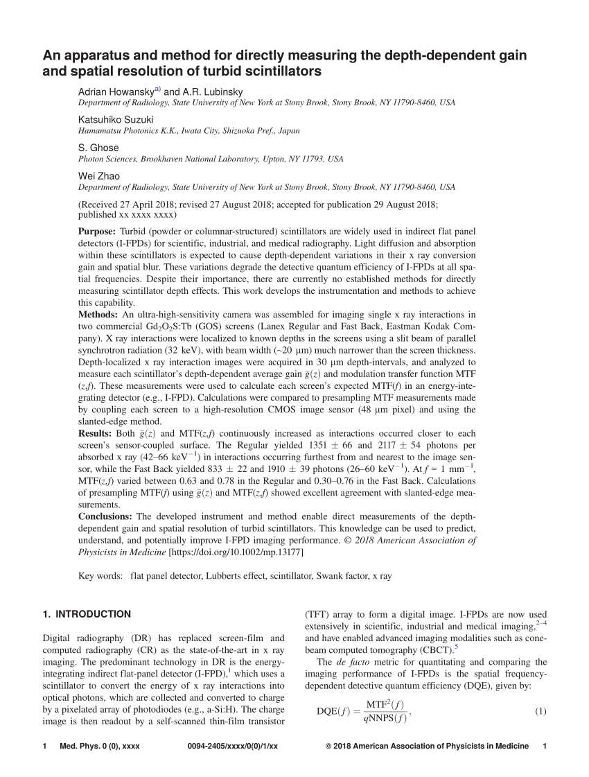 hight resolution of  pdf x ray detectors for digital radiography