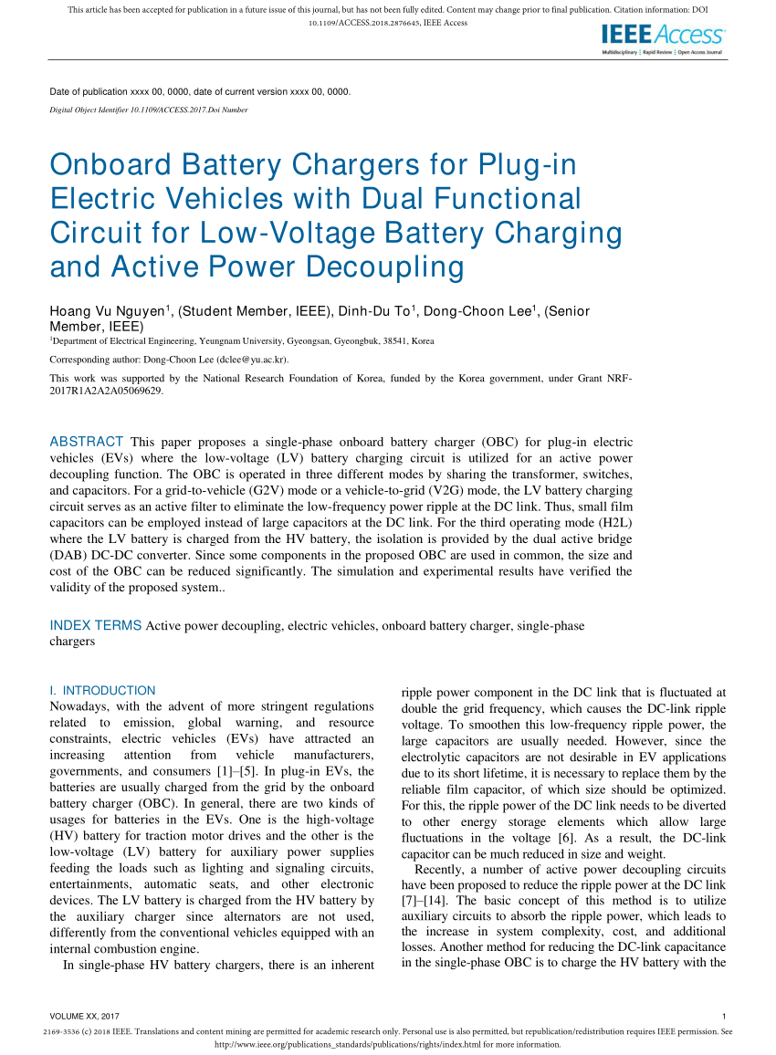 medium resolution of  pdf onboard battery chargers for plug in electric vehicles with dual functional circuit for low voltage battery charging and active power decoupling