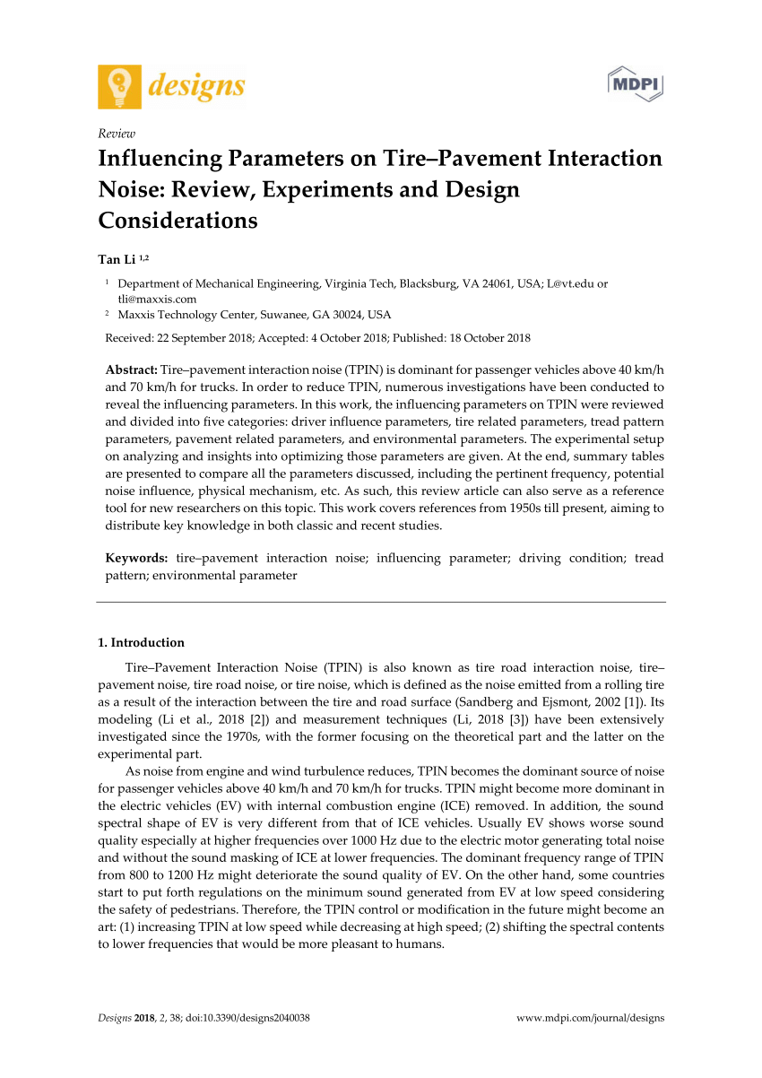 hight resolution of  pdf influencing parameters on tire pavement interaction noise review experiments and design considerations