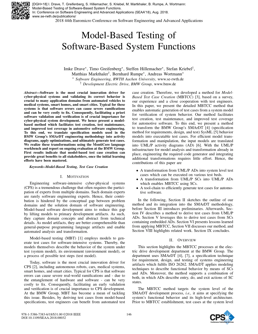 hight resolution of  pdf model based testing of software based system functions