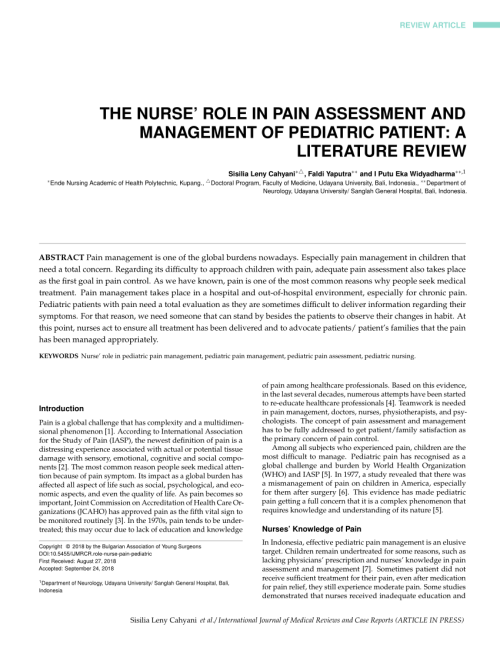 small resolution of  pdf the nurse role in pain assessment and management of pediatric patient a literature review