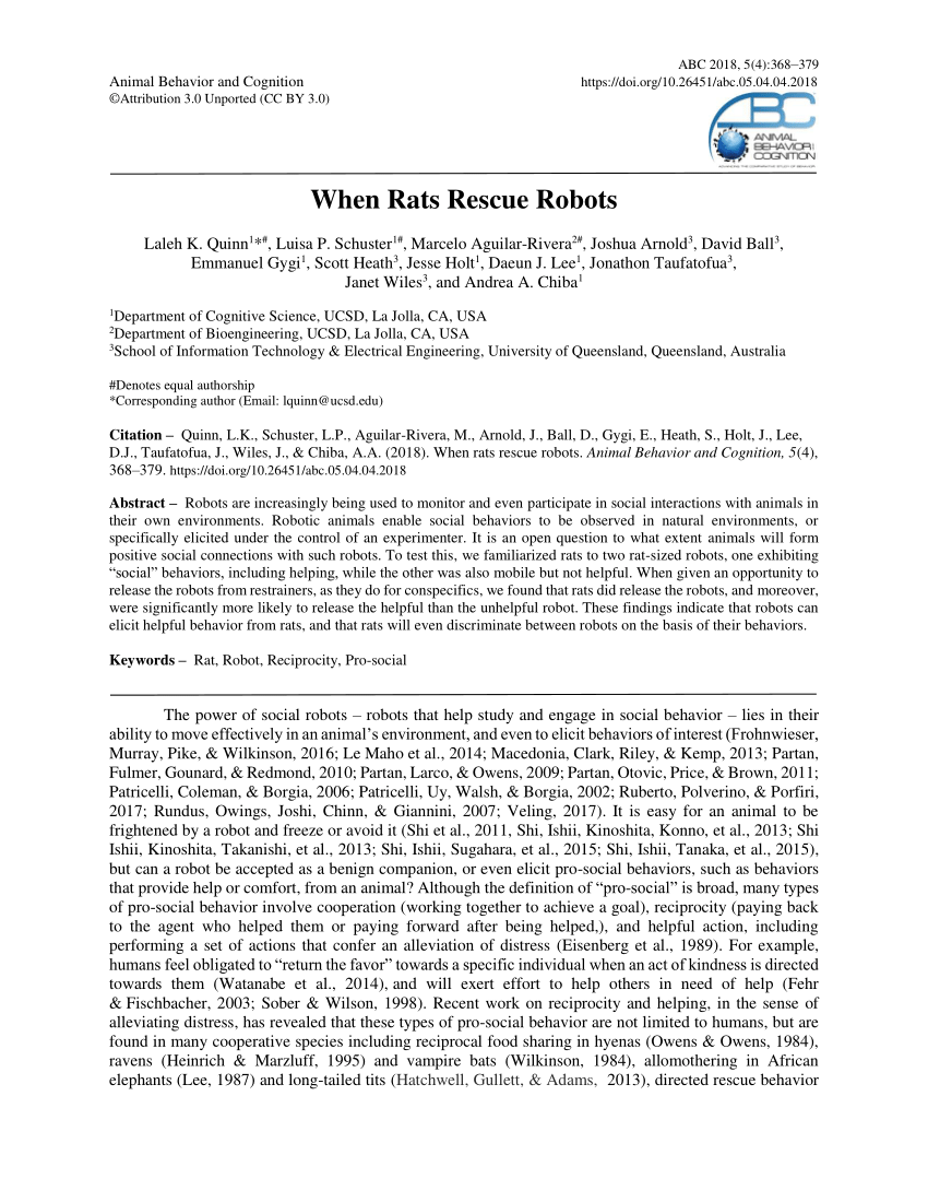 medium resolution of  pdf when rats rescue robots