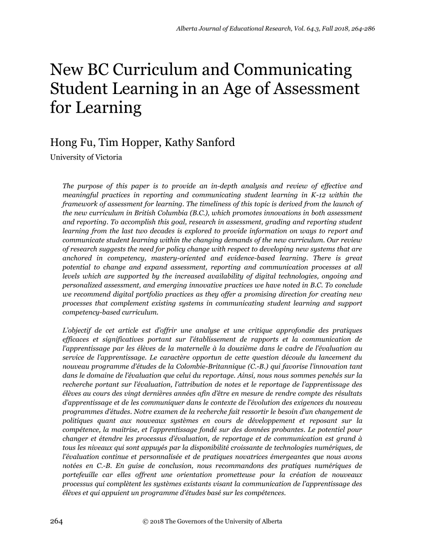 medium resolution of PDF) New BC curriculum and communicating student learning in an age of  assessment for learning