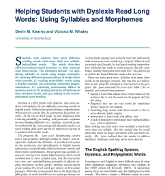 PDF) Helping students with dyslexia read long words: Using syllables and  morphemes [ 1100 x 850 Pixel ]
