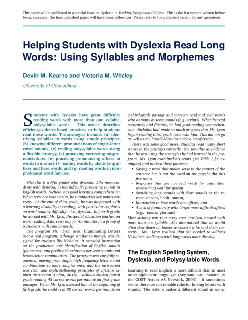 small resolution of PDF) Helping students with dyslexia read long words: Using syllables and  morphemes