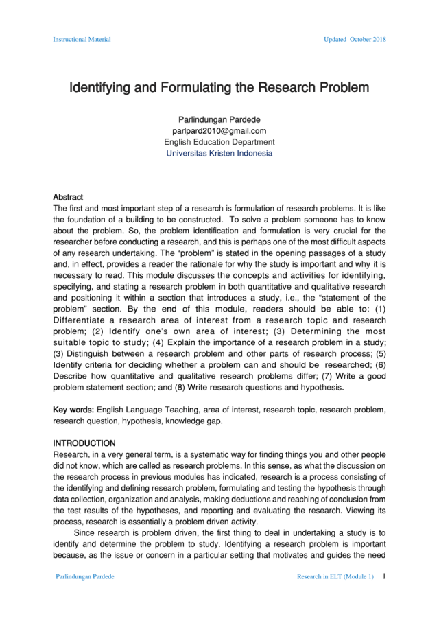 PDF) Identifying and Formulating the Research Problem