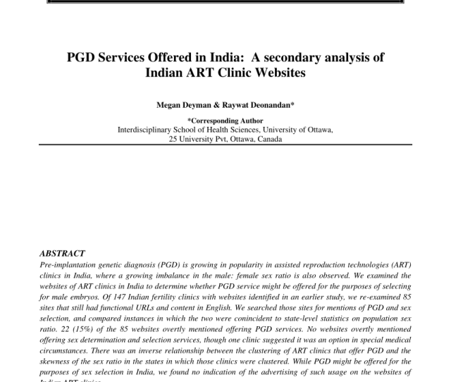 Pdf Pgd Services Offered In India A Secondary Analysis Of Indian Art Clinic Websites