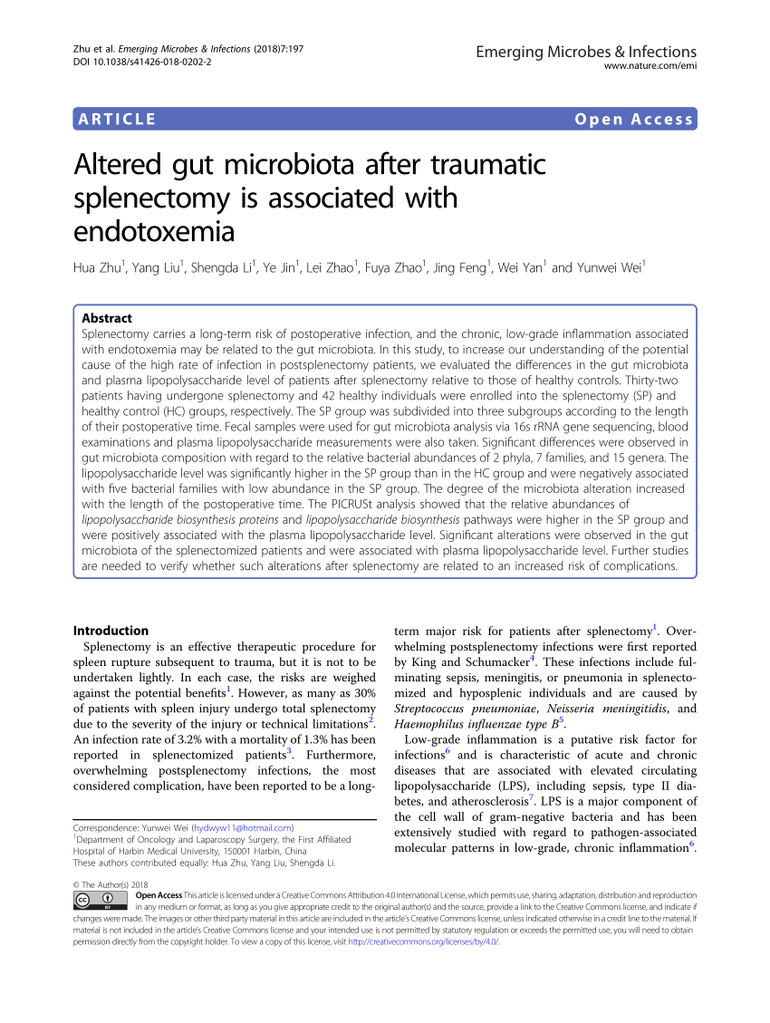 (PDF) Altered gut microbiota after traumatic splenectomy is associated with endotoxemia