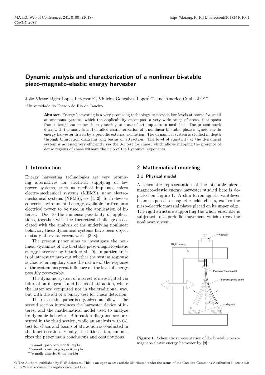hight resolution of  pdf dynamic analysis and characterization of a nonlinear bi stable piezo magneto elastic energy harvester
