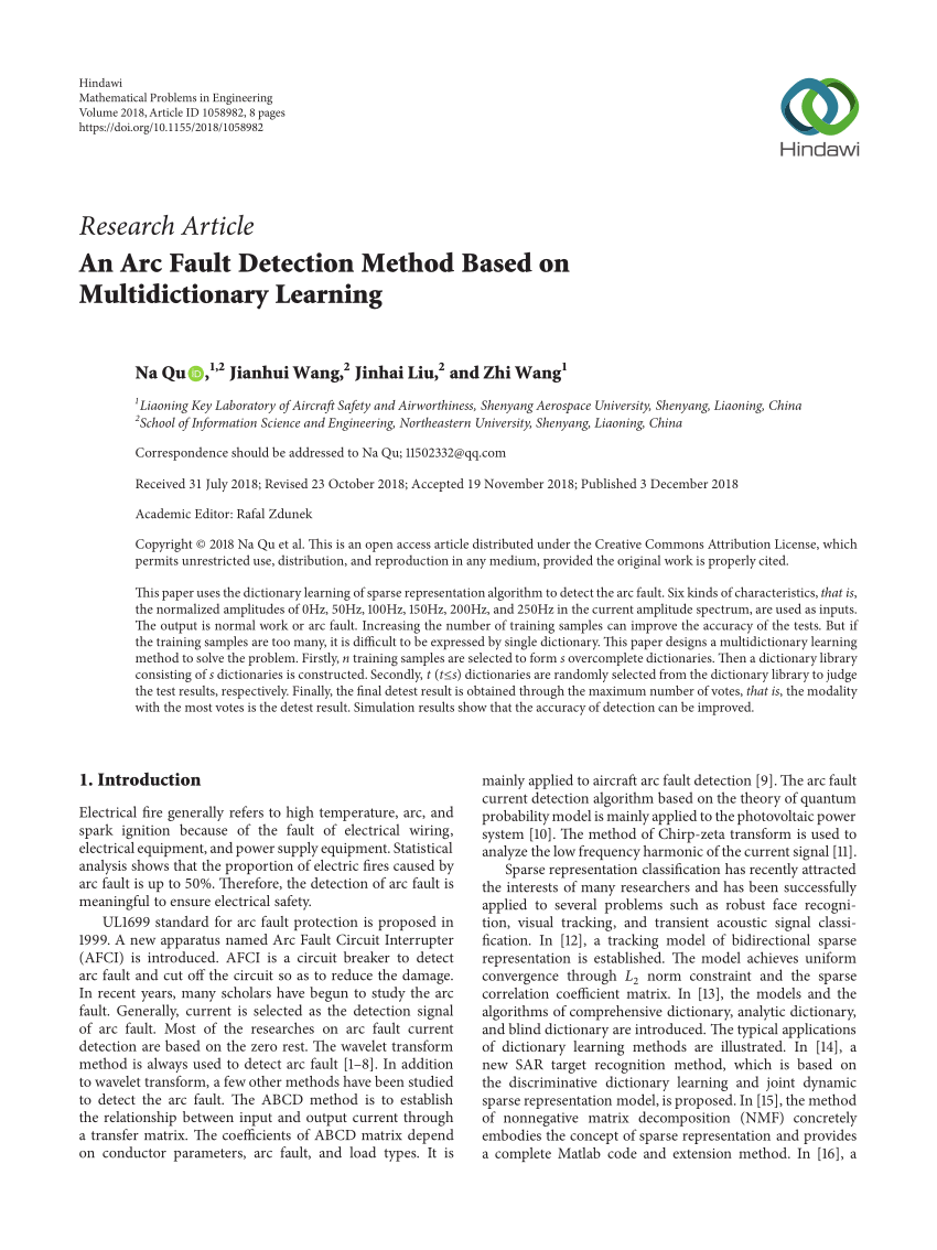 medium resolution of  pdf an arc fault detection method based on multidictionary learning