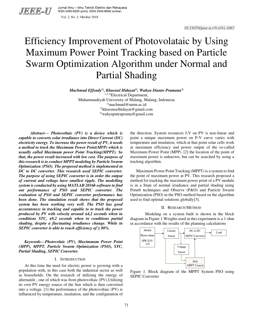 medium resolution of a particle swarm optimization based maximum power point tracking algorithm for pv systems operating under partially shaded conditions