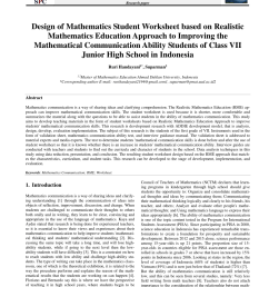 PDF) Design of Mathematics Student Worksheet based on Realistic Mathematics  Education Approach to Improving the Mathematical Communication Ability  Students of Class VII Junior High School in Indonesia [ 1203 x 850 Pixel ]