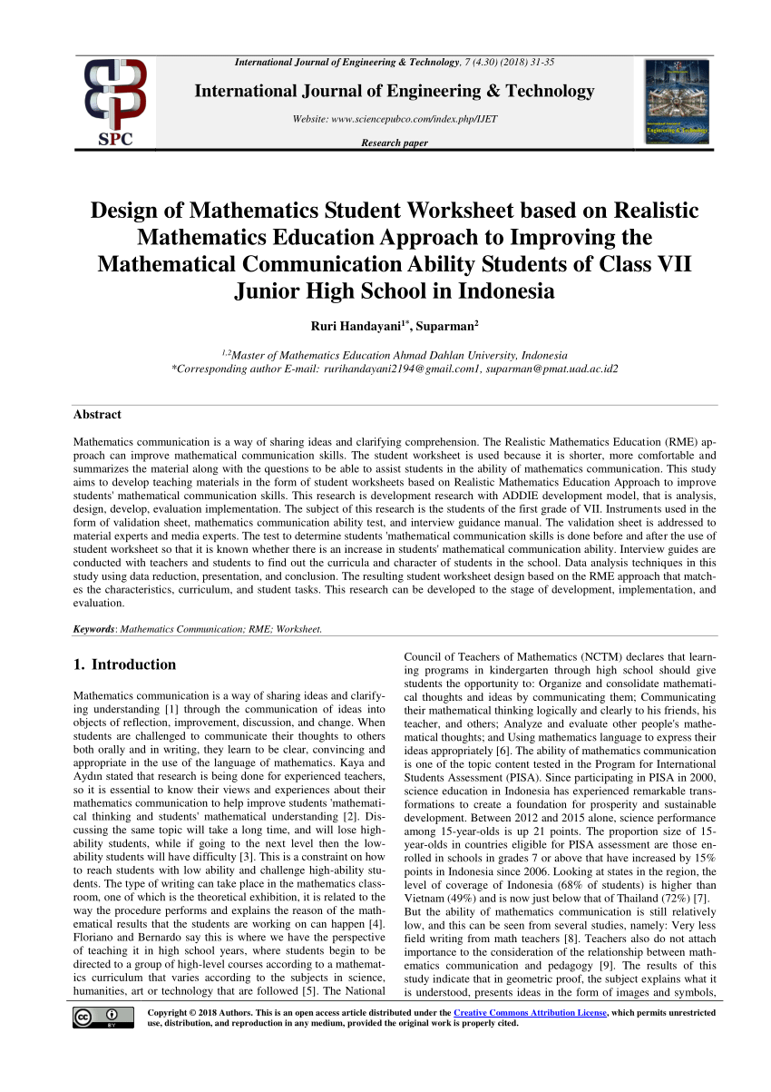 hight resolution of PDF) Design of Mathematics Student Worksheet based on Realistic Mathematics  Education Approach to Improving the Mathematical Communication Ability  Students of Class VII Junior High School in Indonesia