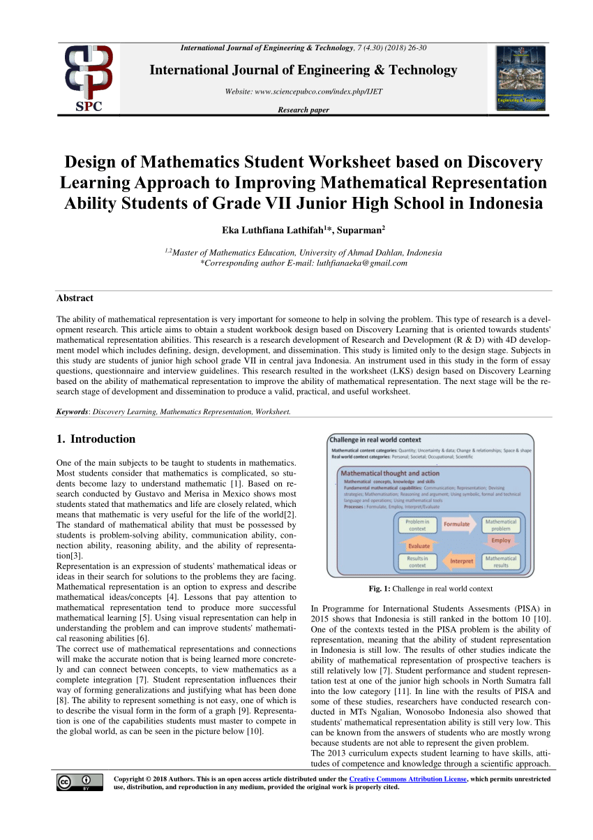 hight resolution of PDF) Design of Mathematics Student Worksheet based on Discovery Learning  Approach to Improving Mathematical Representation Ability Students of Grade  VII Junior High School in Indonesia