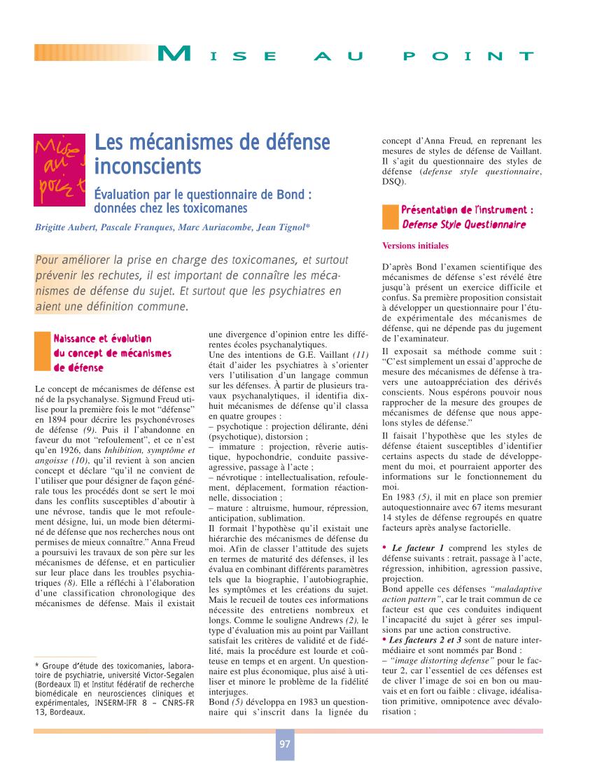 Les 7 Niveaux De Mecanismes De Defense : niveaux, mecanismes, defense, Télécharger, Mécanismes, Défense, Psychologie, Gratuit, PDFprof.com