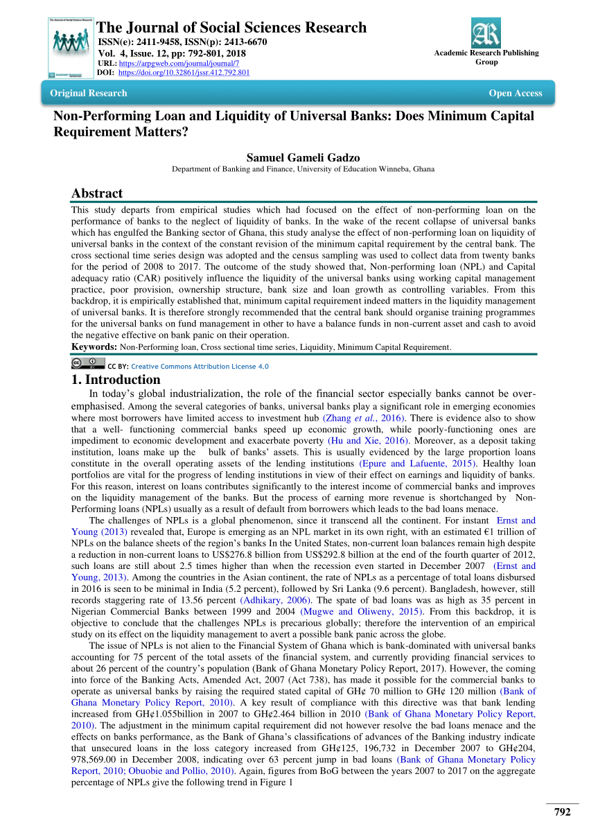 (PDF) Non-Performing Loan and Liquidity of Universal Banks: Does Minimum Capital Requirement Matters?