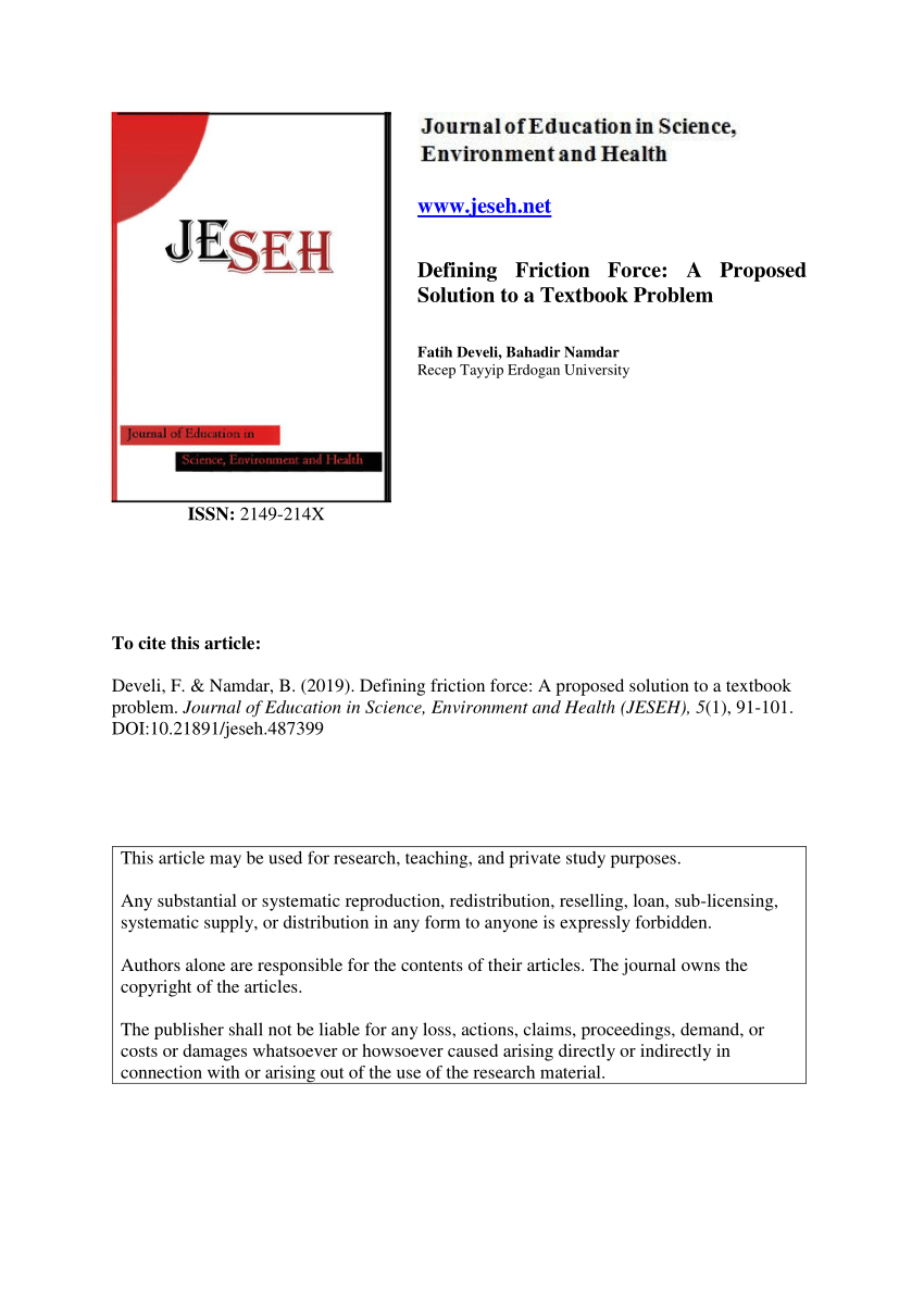 medium resolution of PDF) Defining Friction Force: A Proposed Solution to a Textbook Problem