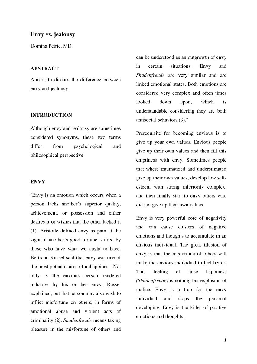 (PDF) Envy vs. jealousy