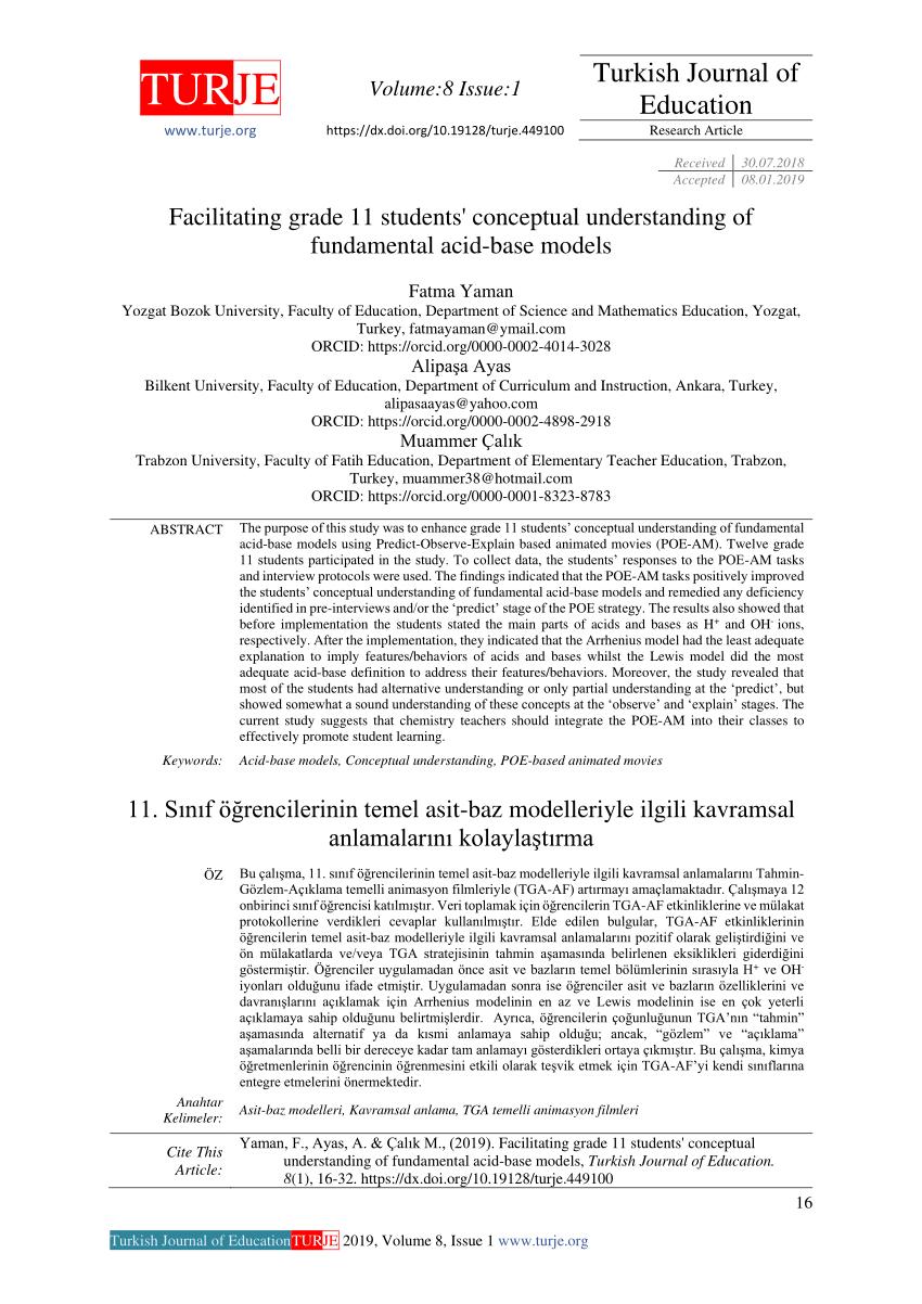 medium resolution of PDF) Facilitating grade 11 students' conceptual understanding of  fundamental acid-base models