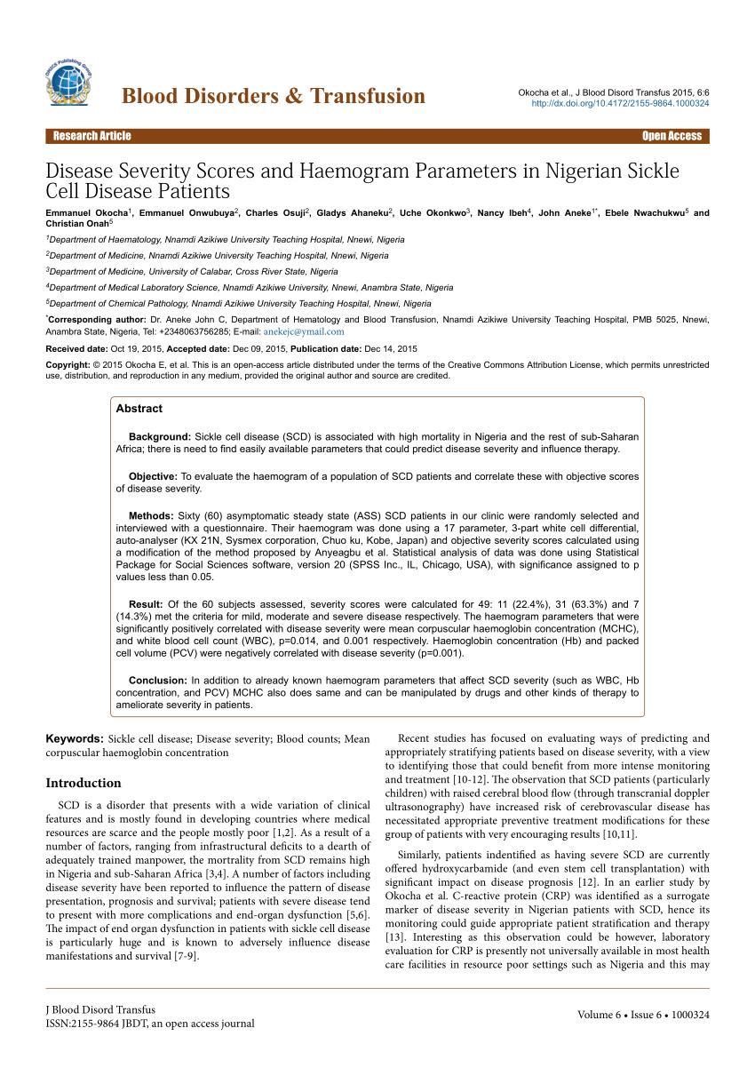 (PDF) disease-severity-scores-and-haemogram-parameters-in-nigerian-sickle-cell-disease-patients-2155-9864-1000324