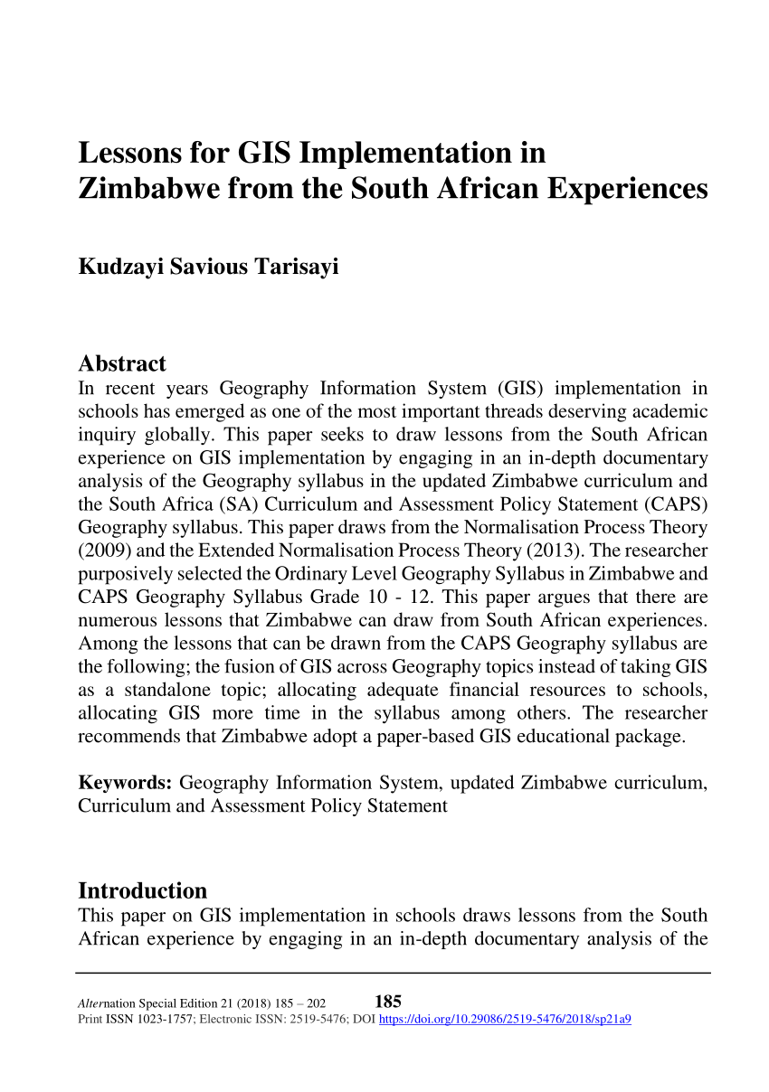medium resolution of PDF) Lessons for GIS Implementation in Zimbabwe from the South African  Experiences