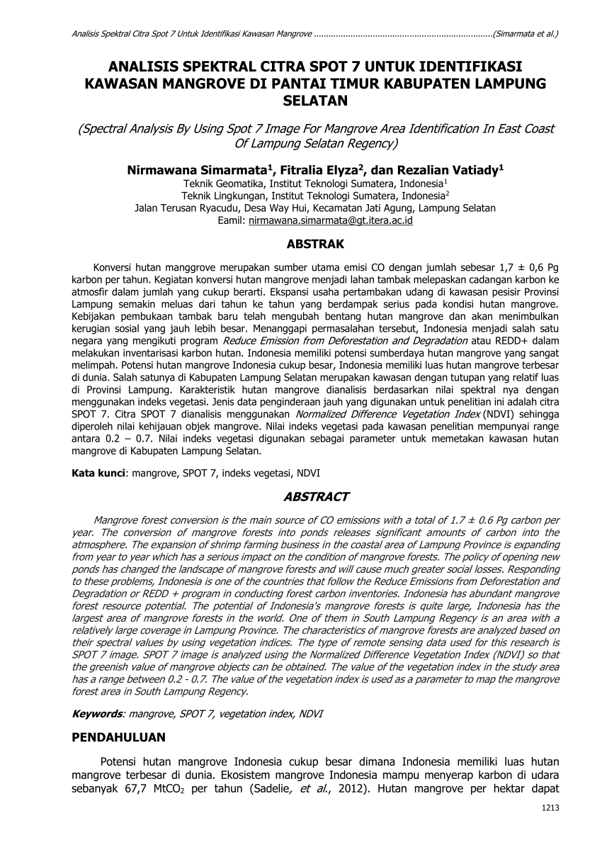 hight resolution of  pdf analisis spektral citra spot 7 untuk identifikasi kawasan mangrove di pantai timur kabupaten lampung selatan