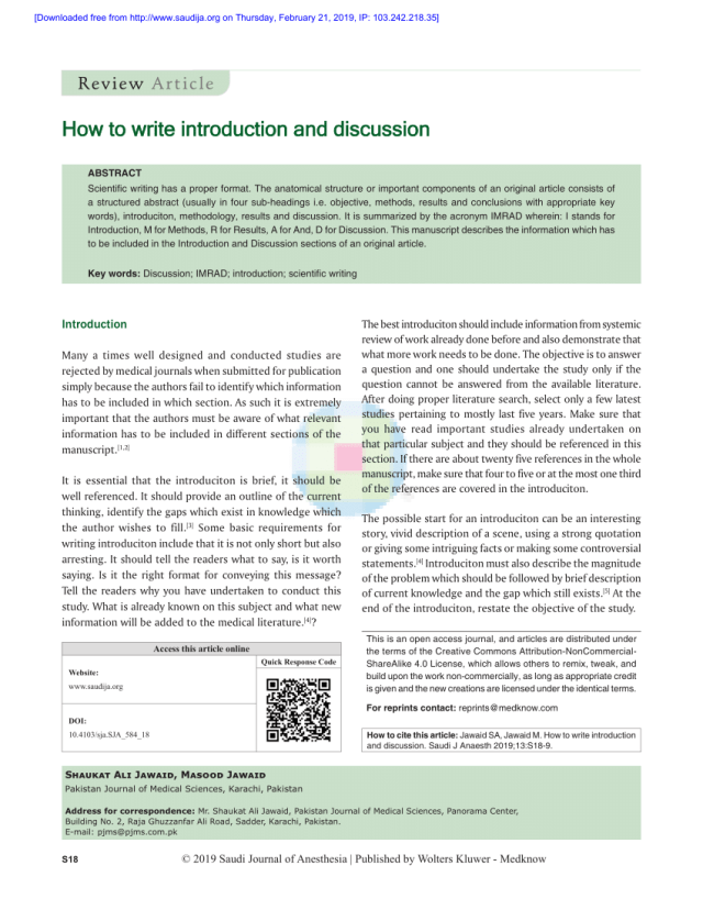 PDF) How to write introduction and discussion