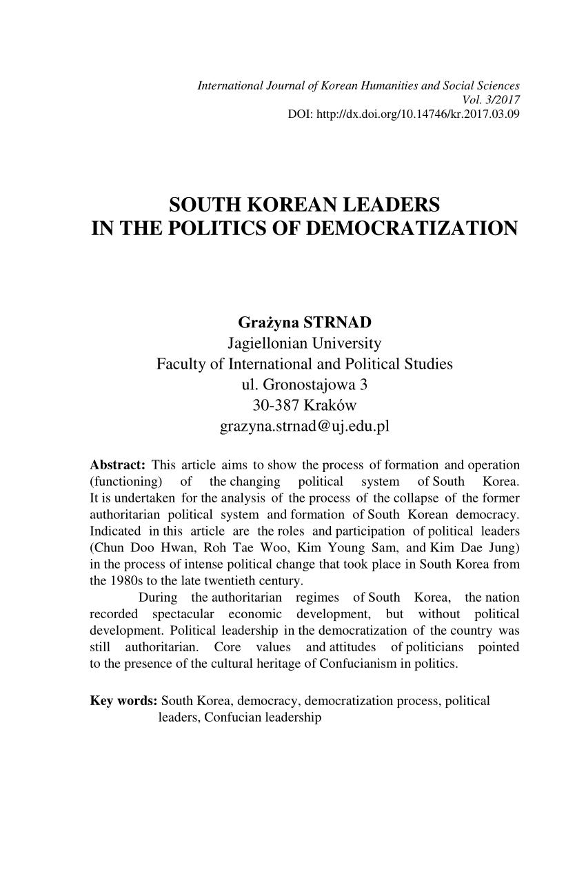 Pdf South Korean Leaders In The Politics Of Democratization