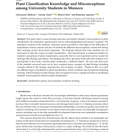 PDF) Plant Classification Knowledge and Misconceptions among University  Students in Morocco [ 1202 x 850 Pixel ]