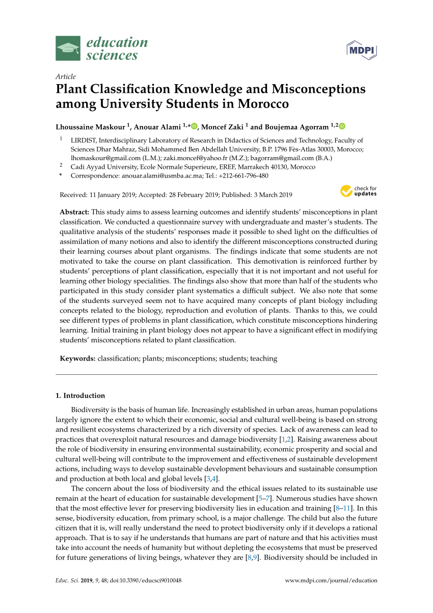 medium resolution of PDF) Plant Classification Knowledge and Misconceptions among University  Students in Morocco