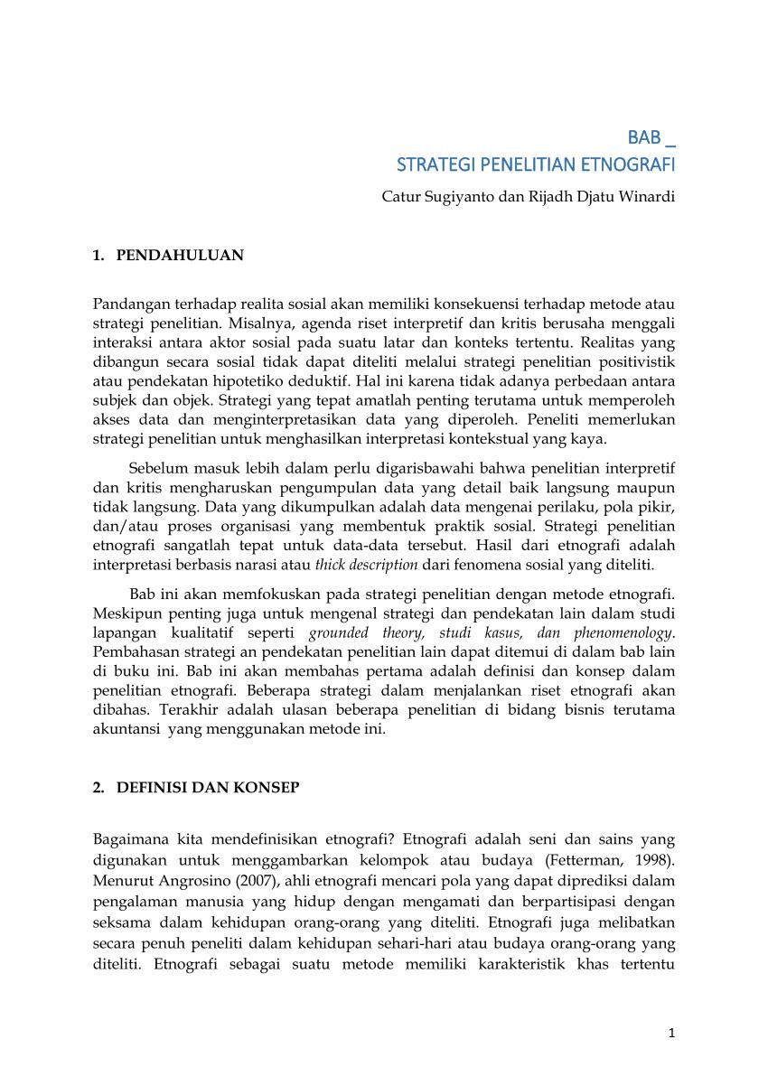 Contoh Penelitian Etnografi : contoh, penelitian, etnografi, Strategi, Penelitian, Etnografi