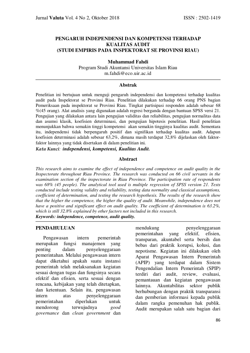 Jurnal penelitian dan pengembangan akuntansi. (PDF) PENGARUH INDEPENDENSI DAN KOMPETENSI TERHADAP
