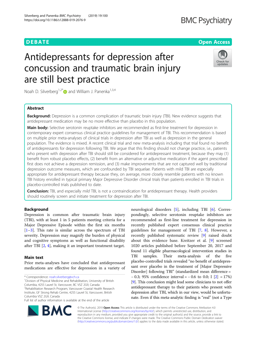 (PDF) Antidepressants for depression after concussion and ...