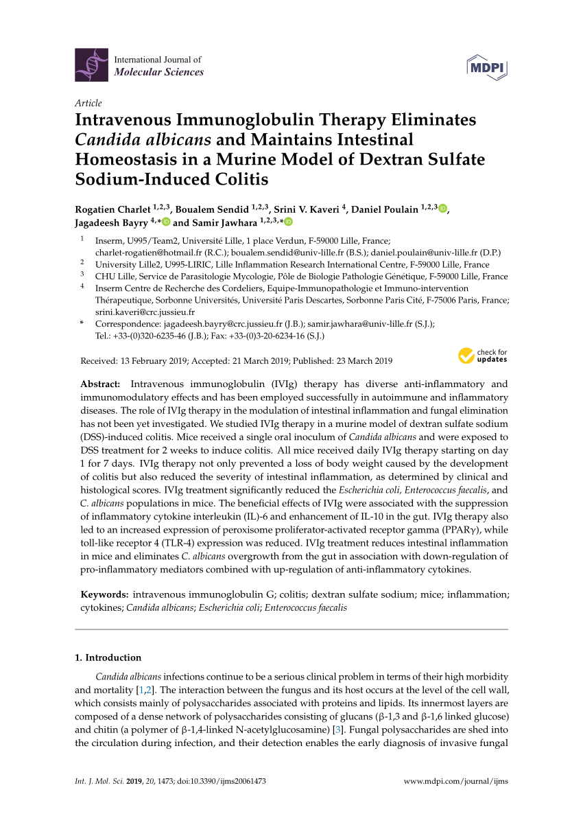 (PDF) Intravenous Immunoglobulin Therapy Eliminates Candida albicans and Maintains Intestinal Homeostasis in a Murine Model of Dextran Sulfate ...